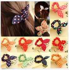 10ps Bulk Cute Women's Dot Rabbit Ear Hair Bow Tie Bands Chiffon Ponytail Holder