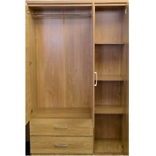 Seconique Charles 3 Door 2 Drawer Mirrored Robe Oak Effect Veneer & Walnut Trim