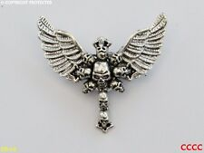 Steampunk brooch badge gothic pin silver owl wings cross of skulls Harry Potter