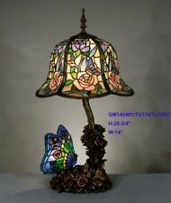 *LIMITED* TIFFANY STAINED GLASS LAVISH BUTTERFLY CABOCHON LEADLIGHT TABLE LAMP