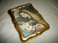 ITALIAN FLORENTINE MADONNA CHILD GILT WOOD FRAME ORNATE TEXTURED PRINT