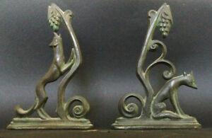 "RARE William F. Boogar 30's Art Deco Bronze Bookends - ""The Fox and The Grapes"""