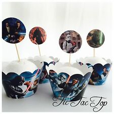 12x STAR WARS Cupcake Toppers + Wrappers. Party Supplies *Superb Quality*