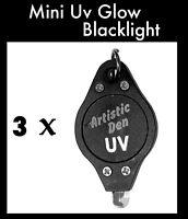 3 UV Glow Face Paint Blacklight Mini Pocket Uv Black light Glow Paint Blacklight