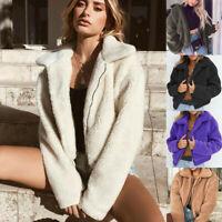 Women's Teddy Bear Pocket Fluffy Coat Fleece Fur Jackets Outerwear Hoodie DR