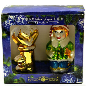 SET OF 2 GLASS ORNAMENTS Pinocchio,Handblown in Russia Christmas New Year
