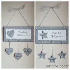 Grey Personalised New Baby Plaque Handmade Gift Present Shabby Chic Sign