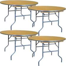 """(4) 60"""" Round Dining Table Heavy Duty Event Wedding Party Wood Folding Table"""