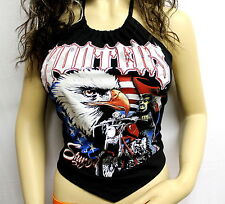 L Hooters Flag USA Biker Showgirl Uniform Halter Top Beach Party Club Wear Sexy