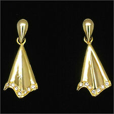 Antique Vintage Repro Dangle Earring Costume Jewelry 18K GP Rhinestone Clear New