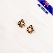 Elegant Gold Tone Yellow CZ Crystal Ladybug Stud Earrings Party