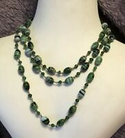 1930s Glass Necklace Millefiori Green Wired Long Vintage Jewellery Jewelry Retro