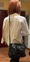Brighton Black Quilt Leather Linaria Logan Rose Floral Crossbody Shoulder Bag