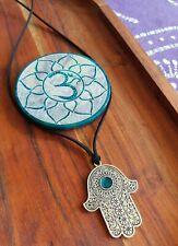Hamsa Hand Ocean Blue Pendant Black Suede Leather Tie Up 80cm Necklace GypsyLee