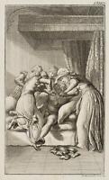 CHODOWIECKI (1726-1801). Dirnen drängen Adelbert auf Eleonorens Bett 1
