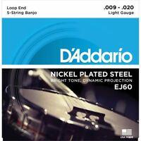 D'Addario 5 String Nickel Banjo String Set - Light 9-20