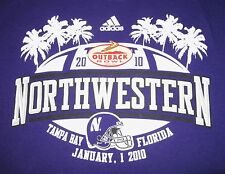 NORTHWESTERN WILDCATS LARGE purple T SHIRT 2010 Outback Bowl Tampa Bay Adidas