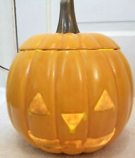 Vintage Electric Halloween Pumpkin w Lid Ceramic + Cord and Bulb