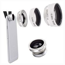 SILVER 3 in 1 FISHEYE GRANDANGOLO MACRO PHOTO LENS Clip Cellulare Fotocamera Set