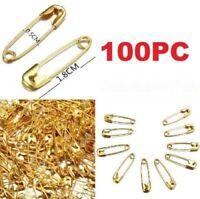 100PCs Safty Pins Gold 18mm Dressmaking Brooch Badge Sewing Crafts Fastening