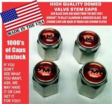 4 Chrome Domed Red Pontiac Motor Division PMD Valve Stem Caps  No ABS Plastic
