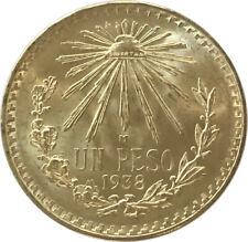 1938 Mexico Silver Cap & Rays Un Peso Uncirculated