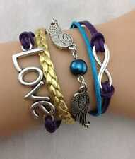 BRACELET CUIR DIRECTIONER LOVE AILES PERLE INFINITY  OR 1D FASHION 2013 FRANCE