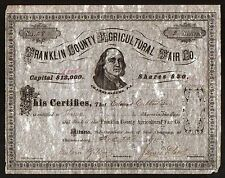 1875 Franklin County Agricultural Fair - Genuine Original Stock Certificate Rare