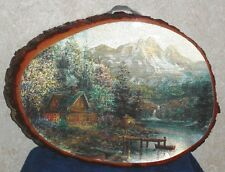 """8"""" x 11"""" Foil Print LAKESIDE COTTAGE FINISHED WOOD HANGING WALL SIGN PLAQUE"""