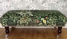 A Quality Footstool Stool In Laura Ashley Living Wall Green Velvet Fabric