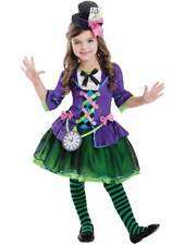 Girls Mad Bad Hatter Costume Child Fairytale Alice Fancy Dress Kids Book Week