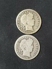 New listing Lot of 2 ~ 90% Silver 1916 Barber Liberty Dimes ~ Old U.S. 10¢ Coins
