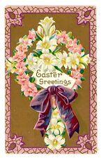 Easter Greetings-WHITE & PINK LILY FLOWERS- Embossed Postcard Cross Series