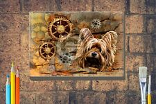 More details for yorkshire terrier print steampunk box canvas a4 a3 a2 a1 xmas mothers day gift