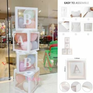 Baby Shower Decorations Transparent Name Letter Box Girl Boy Baby Party
