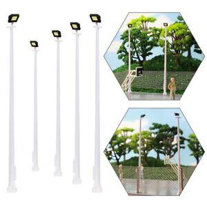 5pcs Model Railway HO Scale Plaza Lamppost 10cm 1:87 Playground Street Lights