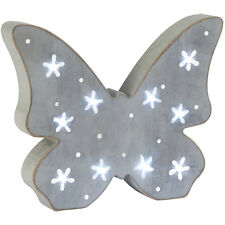 Shabby Chic Ditsy Daisy Grey Wooden LED Butterfly Decoration Light Up Sign Shelf