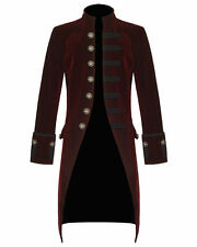 MENS STEAMPUNK TAILCOAT JACKET RED VELVET GOTHIC VICTORIAN FROCK COAT