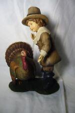 Bethany Lowe Pilgrim boy Feeding Thanksgiving Turkey