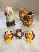 Vintage Lego Japan Ceramic Owl Tree Toothpick Holder & Other Owls - Magnets