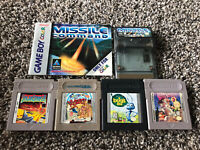 Lot of 5 gameboy games SolarStriker A Bugs Life Missile Command Veediots! WORKS