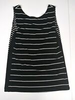 Chico's Travelers Womens 0 Small Tank Top Stretch No Wrinkle Black Striped d4