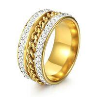 Men's Gold Plated Full Rhinestone Crystal Cuban Band Wedding Rings Size 8-12