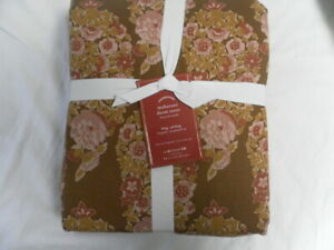 NEW AUTH POTTERY BARN MAHARANI CAL KING DUVET COVER COLOR LIGHT BROWN/PINK