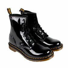 Patent Leather Lace Up Solid Boots for Women