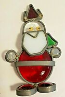 Handcrafted Abstract Iron and Glass Santa Ornament