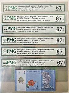 MALAYSIA RM 1,5,10,20,50 & 100 REPLACEMENT ZA/ZB/ZC/ZE SET PMG 67 EPQ