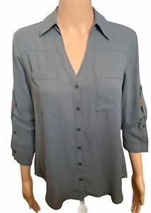 Express The Portifino Shirt Slate Gray Button Down Womens Size Small