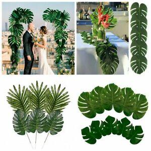 12x Hawaiian Tropical Artificial Palm Leaf Jungle Foliage Luau Party Home Decor