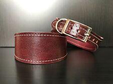 S/M Leather Dog Collar LINED Greyhound Whippet Saluki BURGUNDY SNAKE SKIN